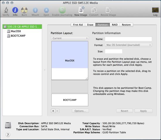 Using Disk Utility to shrink the OSX partition, thereby creating 'Free Space', ready  for Ubuntu.